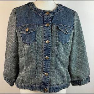 Chicos Denim Jean Jacket Silver Tweed Sleeve SZ 1
